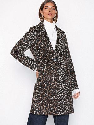 New Look Leopard Print Longline Coat Brown Leopard