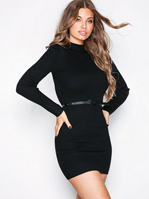 Missguided High Neck Knitted Mini Dress Black