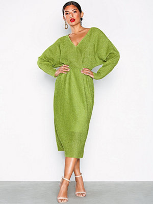 NLY Eve Pleated Midi Dress Sparkle Green