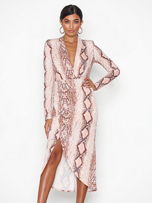 NLY One Wrap Plunge Dress Snake