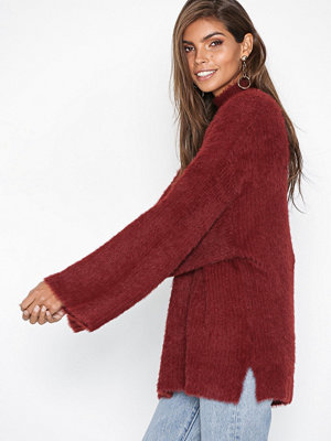 New Look Fluffy Wide Sleeve Jumper Burgundy