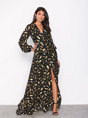 U Collection Feather Long Sleeve Dress Black/Gold