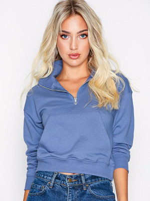 Missguided Zip Front High Neck Cropped Sweat Blue