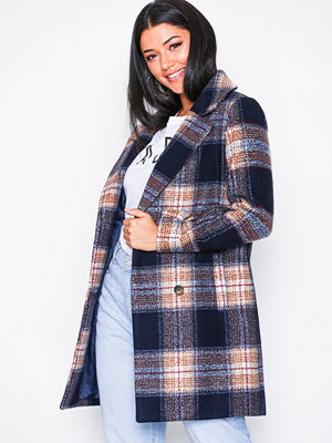 Missguided Check Wool Coat Navy