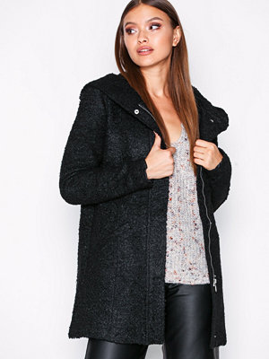 Jacqueline de Yong Jdydemea Hood Boucle Jacket Otw Svart