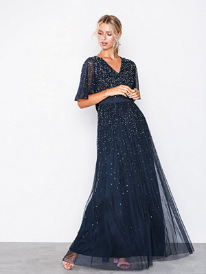Maya V Neck Open Back Scatter Sequin Maxi Dress Navy