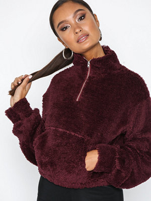 NLY Trend Soft Zip Sweat Burgundy