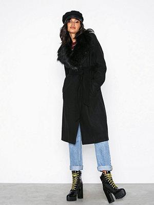 River Island Robe Fur Collar Coat Black