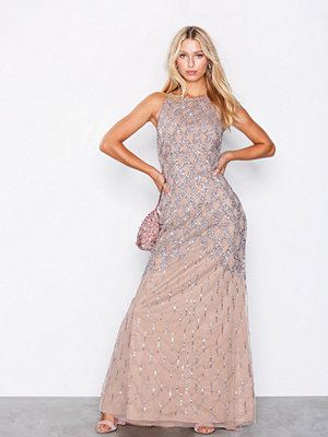 Maya Cage Embellishment Maxi Dress With Train Taupe