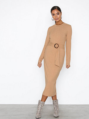 NLY Trend Buckle Belt Dress Beige