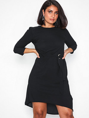 New Look Crepe Belted Dip Hem Tunic Dress Black