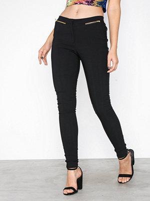 New Look svarta byxor Zip Side Stretch Slim Leg Trousers