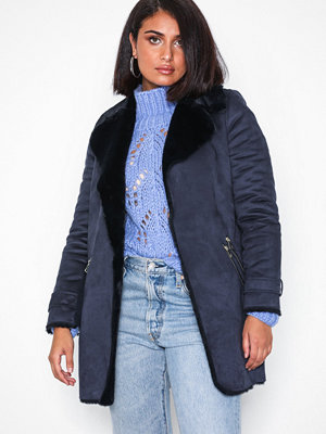 River Island Fur Bonded LL Jacket Navy