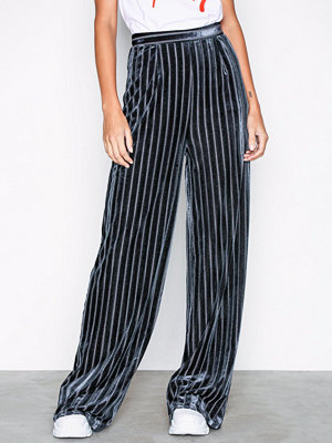 Missguided svarta randiga byxor Striped Wide Leg co Ord trouser Silver