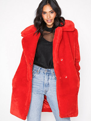 Glamorous Oversized Fur Coat Red