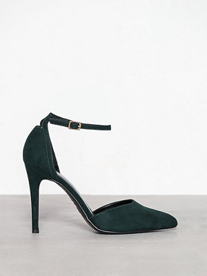 New Look Suedette Ankle Strap Pointed Courts Dark Green