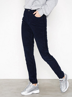 Pieces marinblå byxor Pcfay Hw Corduroy Mom Pants Dc