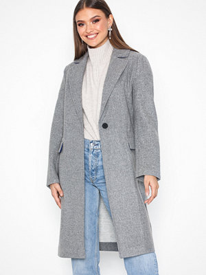 Topshop Relaxed Coat Grey Marl