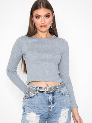 Topshop Long Sleeve Scallop Top Grey Marl