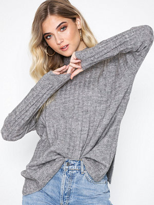 Pieces Pcsanni Ls Wool Knit Noos Ljus Grå