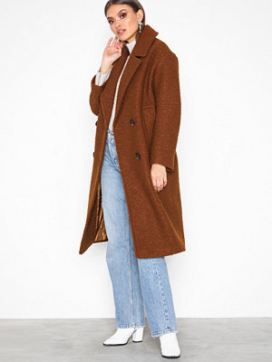 Topshop Boucle Coat Brown