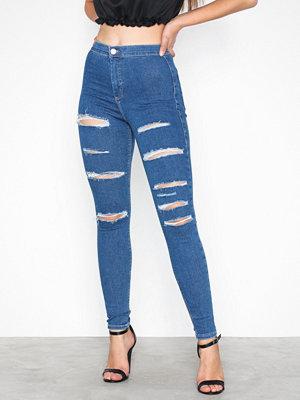 Topshop MOTO Mid Blue Super Ripped Joni Jeans