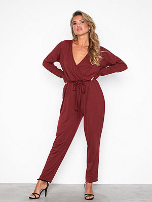 NLY Trend Tie Waist LS Jumpsuit Röd