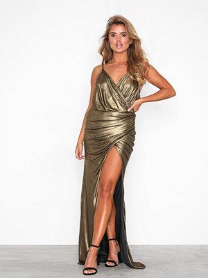 U Collection Gold Metallic Long Sleeve Dress Golden