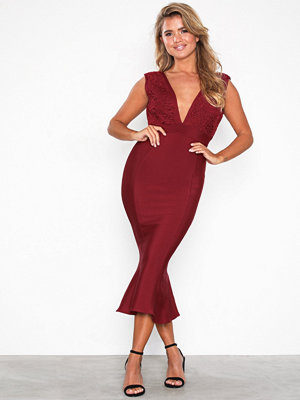 Forever Unique V-neck Midi Dress Burgundy