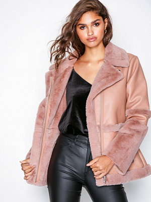 Missguided Fur and Leather Aviator Jacket Light Pink