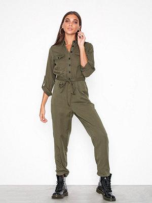 New Look Long Sleeve Utility Jumpsuit Kahki