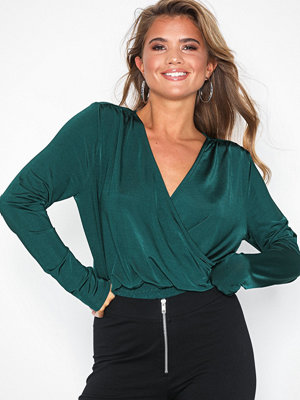 NLY Trend Smock Wrap Slinky Top Teal