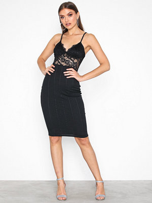 Missguided Lace Top Bandage Midi Dress Black