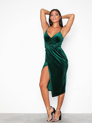 NLY One Wrap Drape Velvet Dress Grön