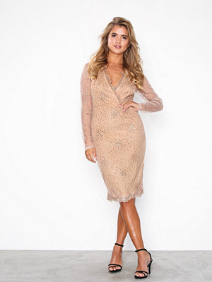 NLY Eve Exclusive Sprinkle Glitter Tight Dress Champagne