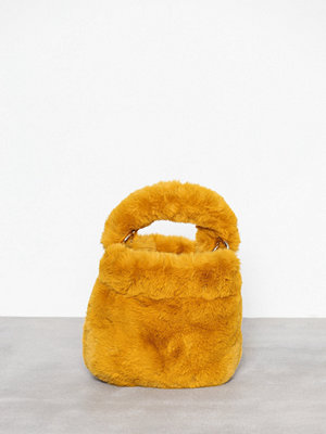 Topshop Teddy Faux Fur Bucket Bag Mustard