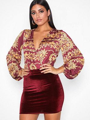 NLY One Mini Velvet Skirt Burgundy