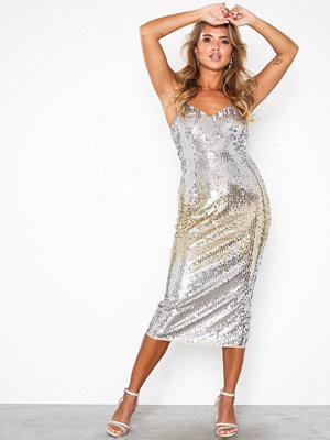 Maya Sequin Cami Midi Dress Silver