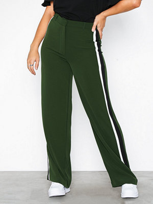 New Look mörkgröna byxor Side Stripe Wide Leg Trousers
