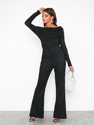 Glamorous Party Flare Jumpsuit Black Metal
