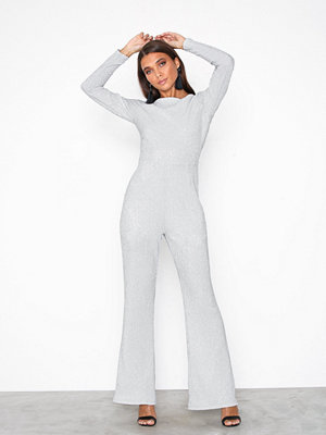 Jumpsuits & playsuits - Glamorous Party Flare Jumpsuit Silver Metal
