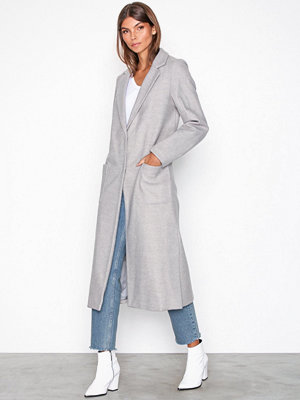 New Look Bar Back Maxi Coat Light Grey