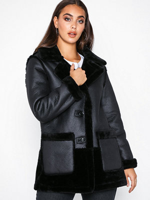River Island Reversible Car Coat Black