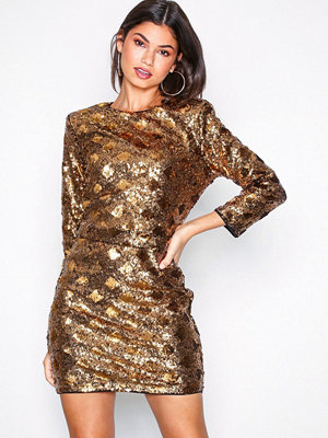 NLY Trend Belted Sequin Dress Guld
