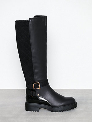 River Island Quilted Back Buckle Boot Black