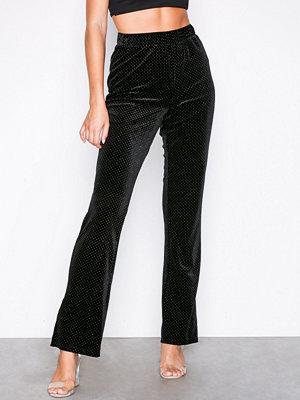 Glamorous svarta byxor Velvet Dot Trousers