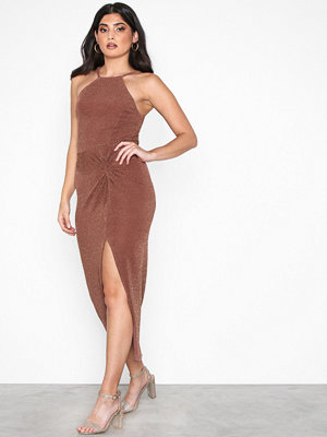 NLY One Lurex Twist Dress Mörk Rosa