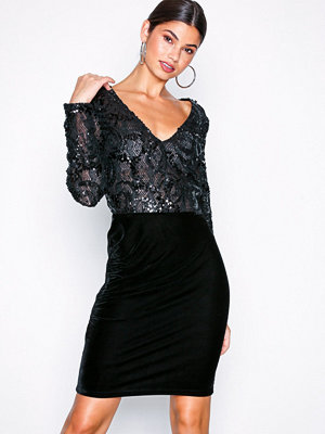 NLY Eve Sequin Lace Draped Dress Svart