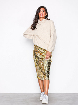 NLY Trend Sequin Midi Skirt Guld