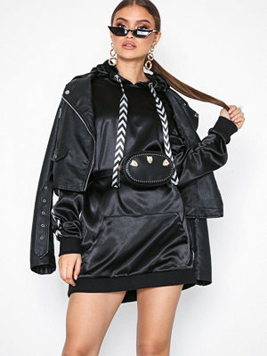 Missguided Mono Sports Tape Oversized Hooded Dress